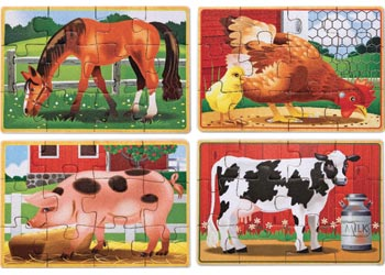 Melissa & Doug - Farm Animals Puzzles in a Box