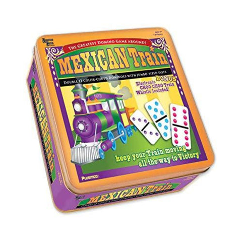 Mexican Train Professional Dominoes in Tin Box