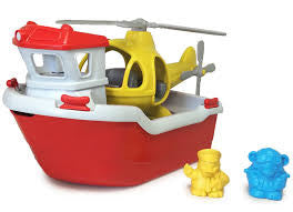 Green Toys Rescue Boat & Helicopter - Finnegan's Toys & Gifts