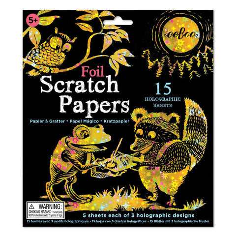 Foil Scratch Papers 15 Holographic Sheets - Finnegan's Toys & Gifts