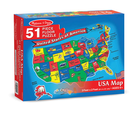 U.S.A. United States Map Floor Puzzle - 51 Pieces - Finnegan's Toys & Gifts - 1