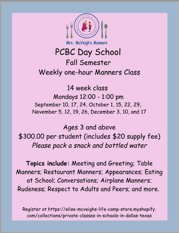 PCBC DAY SCHOOL FALL - THIS IS A PRIVATE CLASS