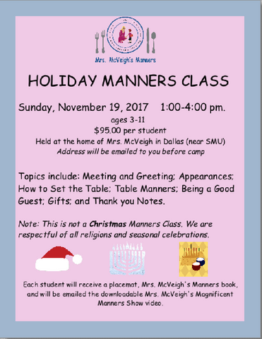 Holiday Manners Class 2017