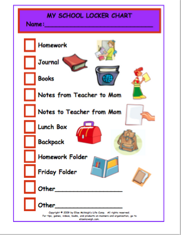 My School Locker Chart - Free Shipping!
