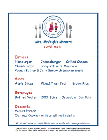 Mrs. McVeigh's Manners Restaurant Menus - Set of 10