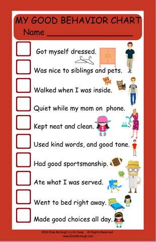 My Good Behavior Chart - Free Shipping!