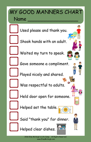 My Good Manners Chart - Free Shipping!