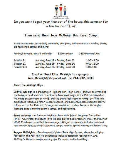 McVeigh Brothers Activities Camp Session II MORNING June 25-30