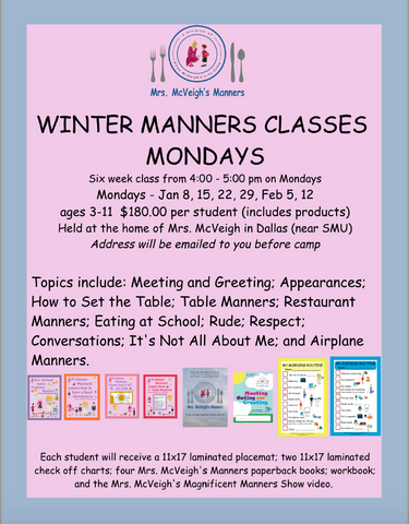 MONDAY WINTER MANNERS CLASSES