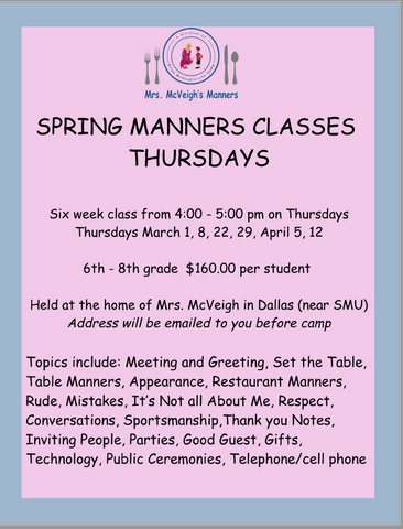 THURSDAY SPRING MANNERS CLASSES 6th-8th Grade