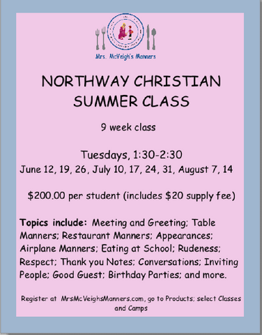 NORTHWAY CHRISTIAN PRESCHOOL SUMMER CLASSES - PRIVATE CLASS