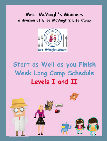 Start as Well as you Finish Curriculum One Week Camp Lesson Plans Level I and Level II