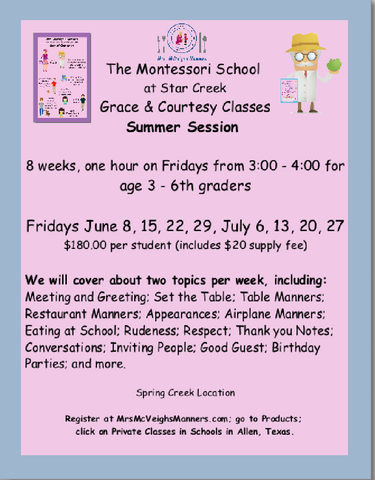THE MONTESSORI SCHOOL SUMMER CLASS - THIS IS A PRIVATE CLASS