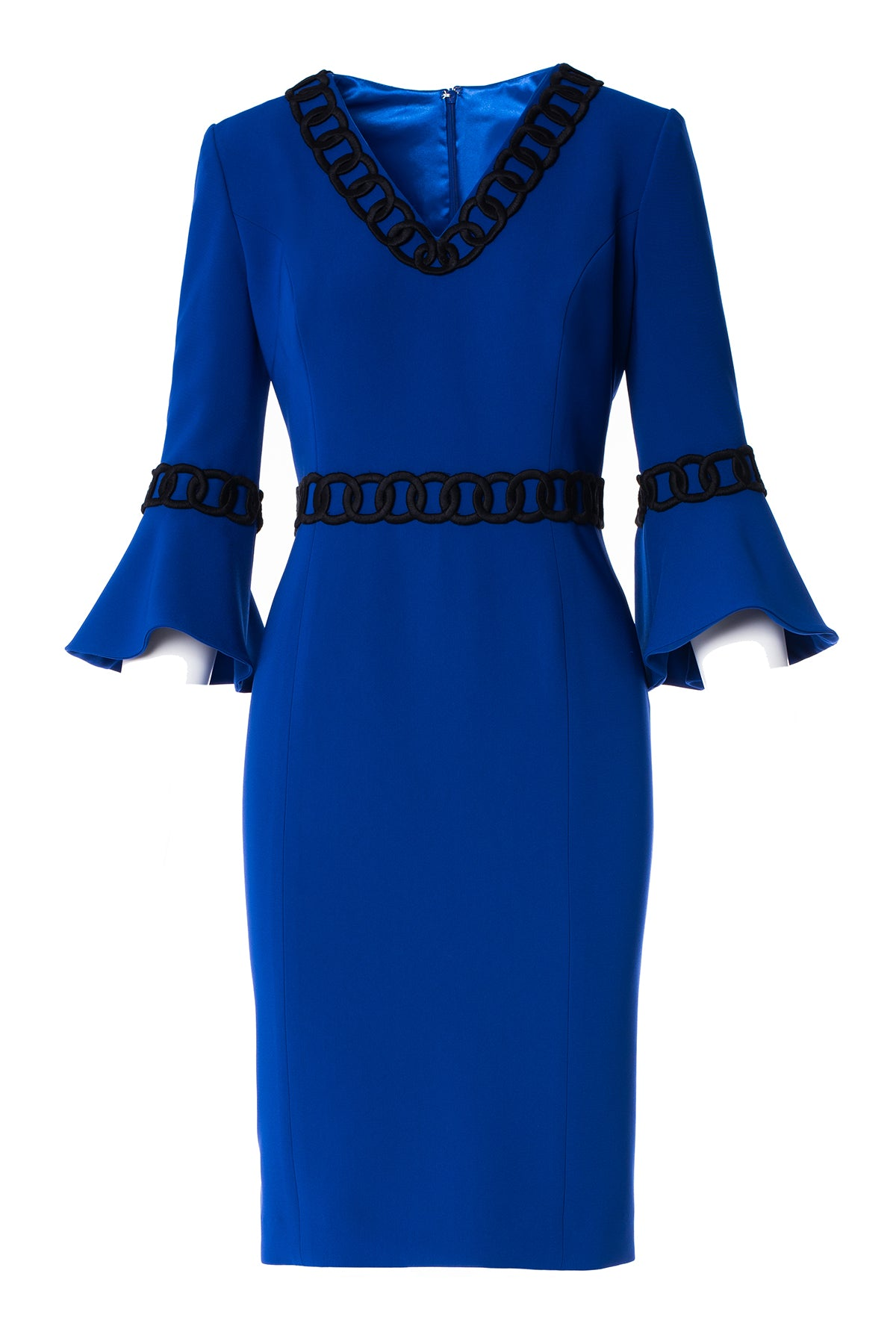 V-Neck Ruffle Sleeve Dress with Chain Embroidery