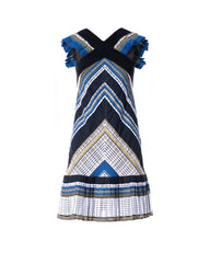 CROSS NECK STRIPED DRESS WITH PLEATED SHOULDERS AND HEM