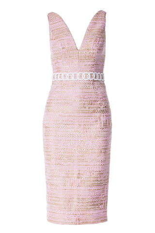 Plunging V-Neck Dress with Chain Embroidery