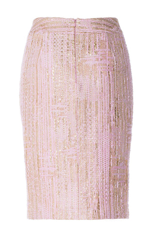 Pink Gold Tweed Skirt