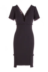 V-NECK CREPE DRESS WITH PEARL EMBELLISHMENT