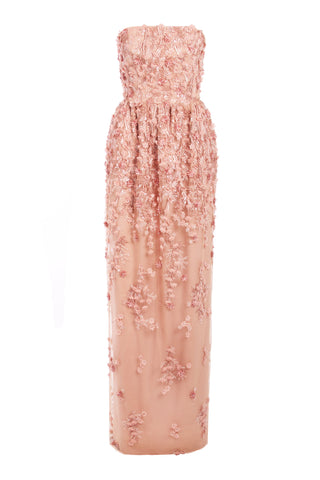 Spring Blossom Strapless Gown