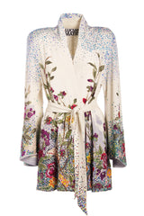 Crystal Embellished, Hand-Embroidered Silk Kimono