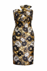 FLORAL GOLD BROCADE BOW DRESS