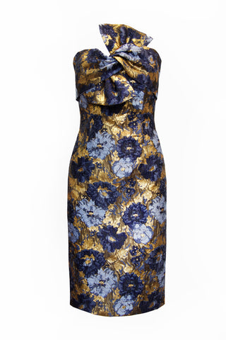 Golden Floral Brocade Bow Dress
