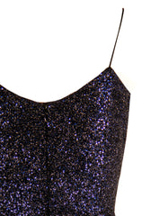 SEQUIN SPAGHETTI STRAP GOWN WITH FRONT DRAPE