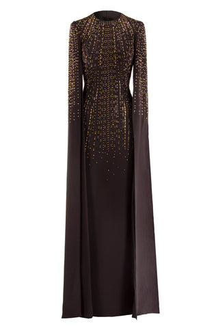 SPLIT-SLEEVE SILK GOWN WITH DRIPPING CRYSTAL EMBELLISHMENT