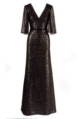 SEQUIN A-LINE V-NECK GOWN WITH FLUTTER SLEEVE