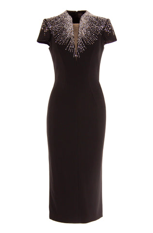 CRYSTAL EMBELLISHED PLUNGING V-NECK CREPE DRESS