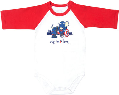 SuperHero Baby 3/4 Length Red Sleeve Onesie