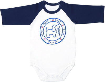 Puppie Love Baby 3/4 Length Navy Sleeve Onesie