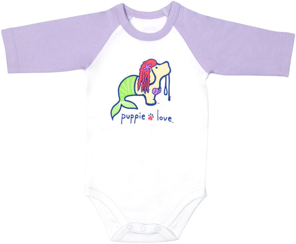 Mermaid Baby 3/4 Length Purple Sleeve Onesie