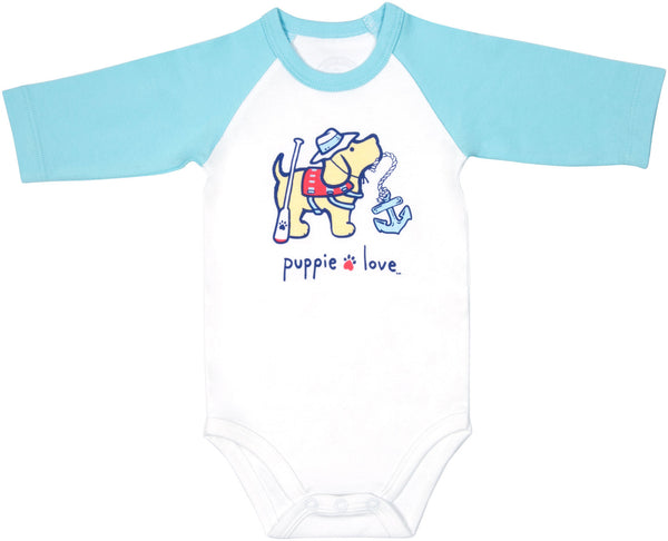 Lake Baby 3/4 Length Teal Blue Sleeve Onesie