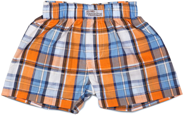 Plaid Orange Soda Boxer Baby Shorts Shorts Itty Bitty & Handsome - GigglesGear.com