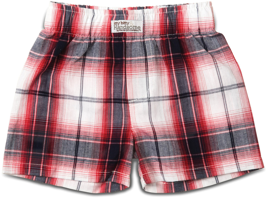 Plaid Fire Truck Boxer Baby Shorts