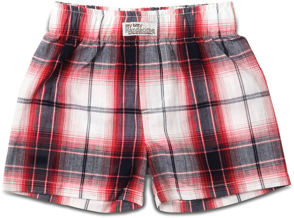 Plaid Fire Truck Boxer Baby Shorts Shorts Itty Bitty & Handsome - GigglesGear.com