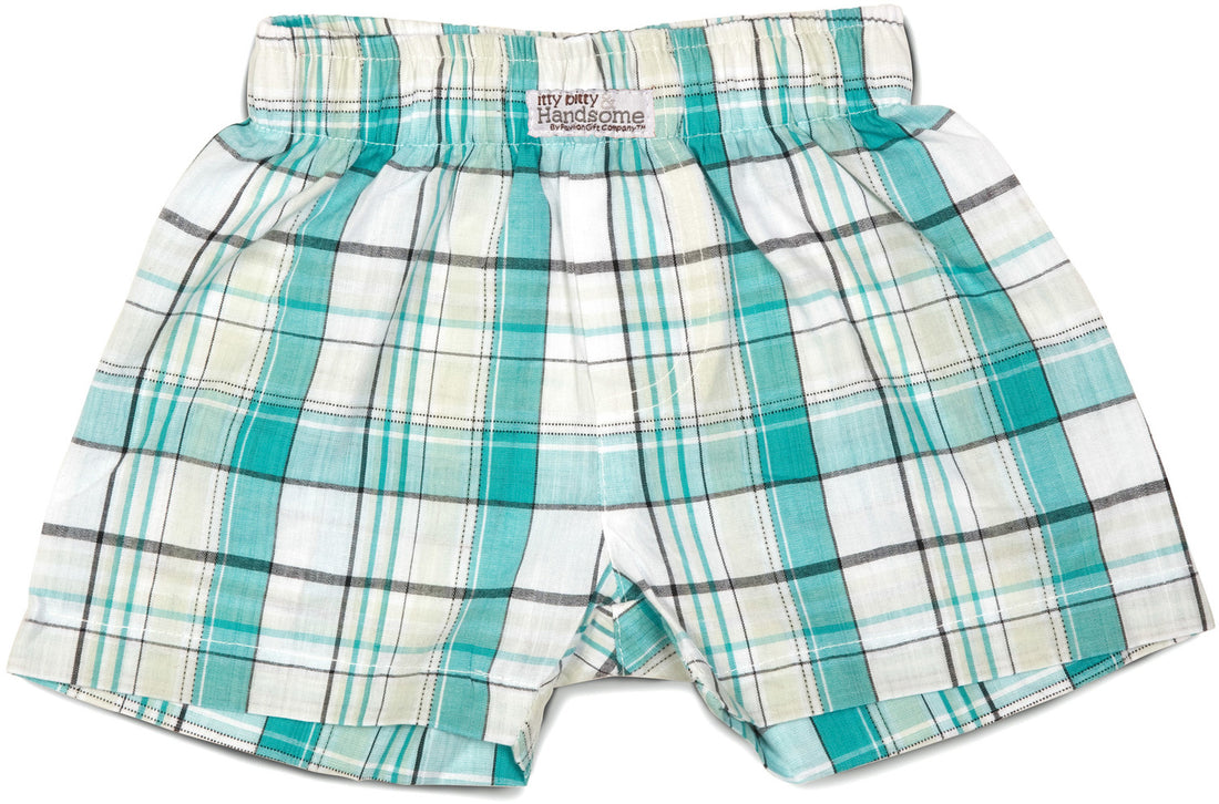 Plaid Robin's Egg Boxer Baby Shorts