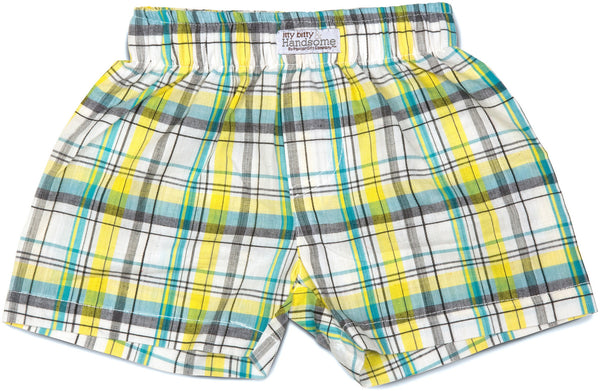 Plaid Sunny Sky Boxer Baby Shorts Shorts Itty Bitty & Handsome - GigglesGear.com