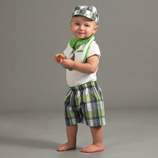 Plaid Grasshopper Boxer Baby Shorts Baby Shorts Itty Bitty & Handsome - GigglesGear.com