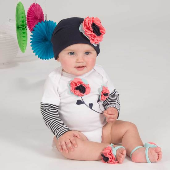 Coral Sky Flower Baby Hat (12-36 Months) Baby Hat Itty Bitty & Pretty - GigglesGear.com