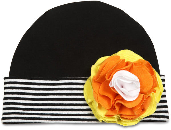 Candy Corn Flower Baby Hat (12-36 Months) Baby Hat Itty Bitty & Pretty - GigglesGear.com