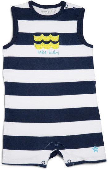 Blue and White Lake Baby Romper 6-12 M Baby Romper We Baby - GigglesGear.com