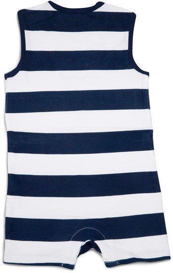 Navy and White Lake Baby Romper Romper We Baby - GigglesGear.com