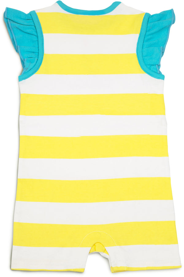 Yellow and Aqua Beach Baby Romper Baby Romper We Baby - GigglesGear.com