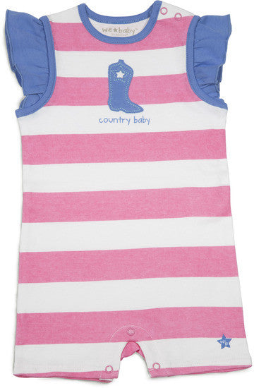 Pink and Blue Country Baby Romper 6-12 M Romper We Baby - GigglesGear.com