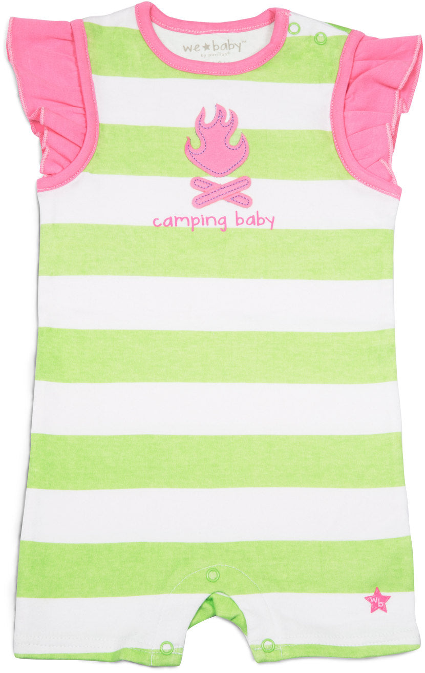 Green and Pink Camping Baby Romper 6-12 M Baby Romper We Baby - GigglesGear.com