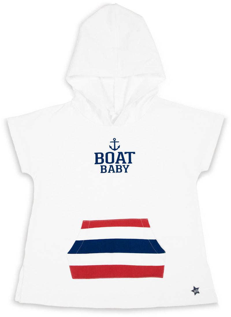 Boat Baby No Sleeve French Terry Cloth Hoodie (2T - 3T) Terry Cloth Hoodie We Baby - GigglesGear.com
