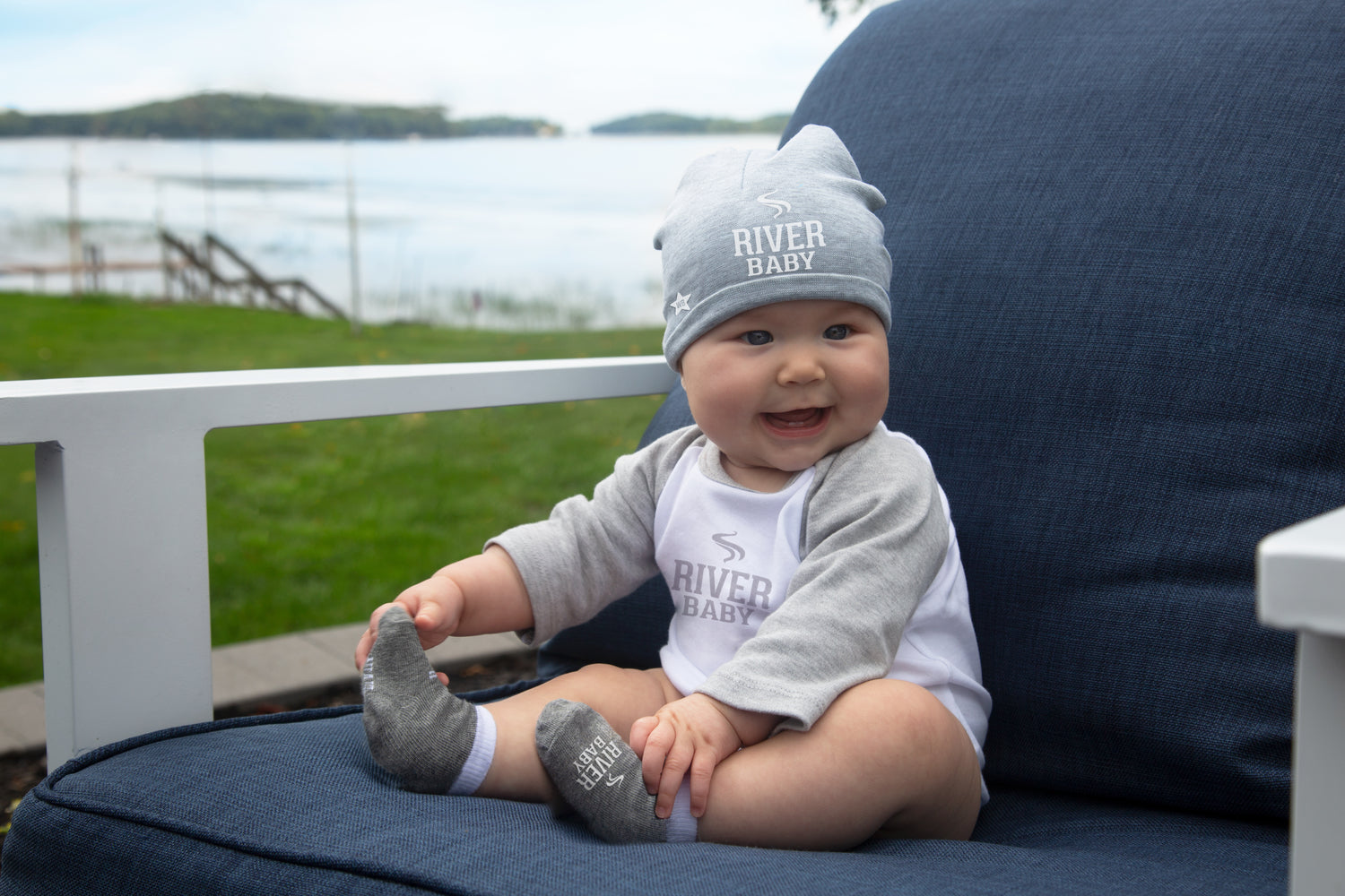 88279663d18 River Baby Heather Gray Beanie Hat Baby Hat We Baby - GigglesGear.com