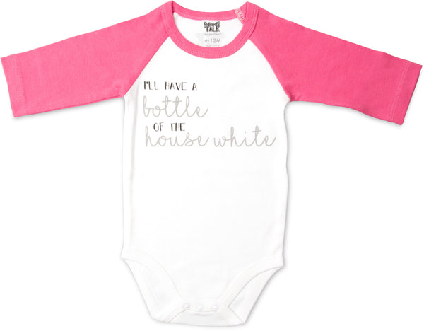 I'll have a bottle of the house white 3/4 Sleeve Onesie Baby Onesie Sidewalk Talk - GigglesGear.com